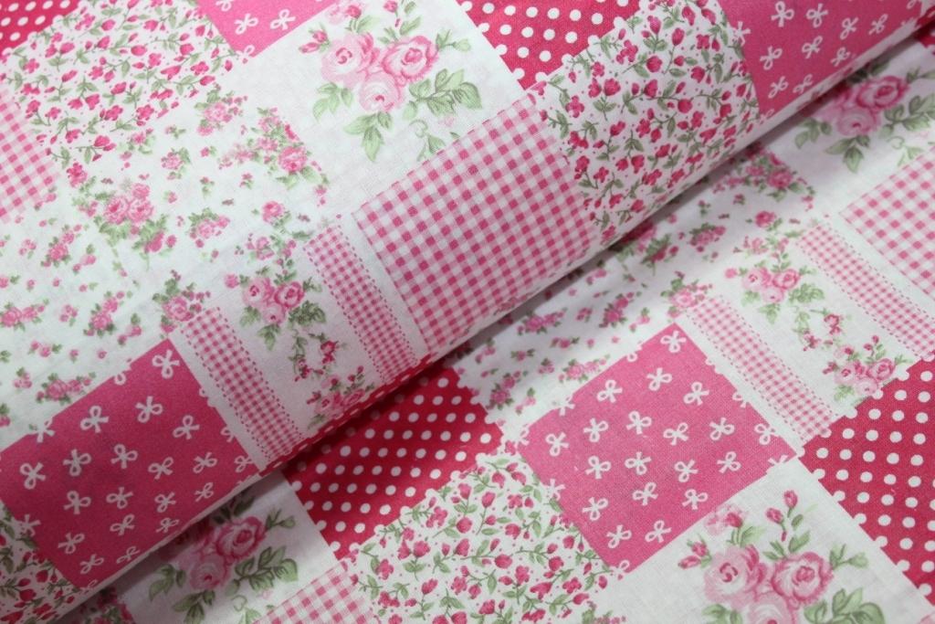 0c4630320 Růžový patchwork II. | MOJELÁTKY.CZ - látky | metráž | galanterie