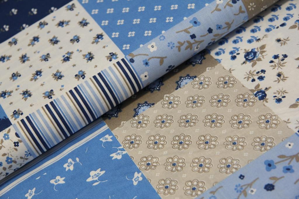 438f9f690 Květinový patchwork - modrá | MOJELÁTKY.CZ - látky | metráž | galanterie