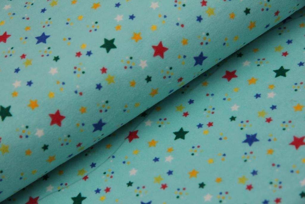 Hvězdičky - tyrkysová - flanel  aaea1e8c52